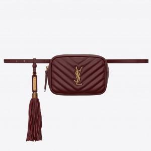 Saint Laurent Lou Belt Bag In Burgundy Calfskin