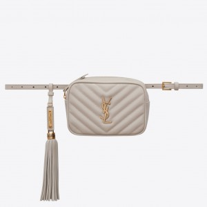 Saint Laurent Lou Belt Bag In Blanc Matelasse Leather