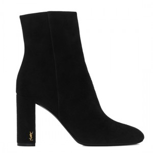 Saint Laurent LouLou 95 Zipped Ankle Boot In Black Suede