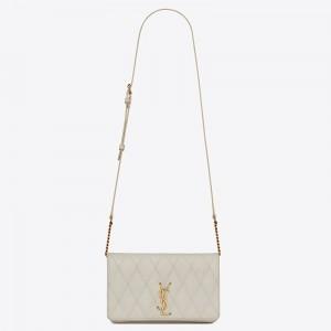 Saint Laurent Angie Chain Bag In White Diamond Lambskin