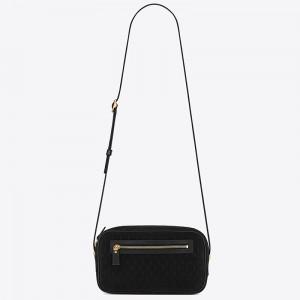 Saint Laurent Monogram All Over Camera Bag In Black Suede