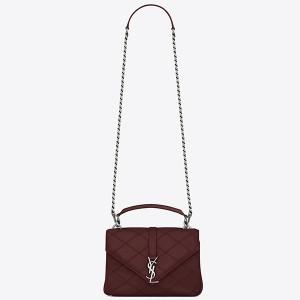 Saint Laurent Medium College Bag In Bordeaux Matelasse Leather