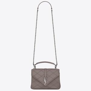 Saint Laurent Medium College Bag In Grey Matelasse Leather