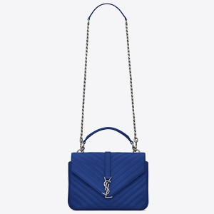 Saint Laurent Medium College Bag In Blue Goatskin Leather