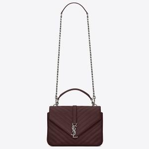 Saint Laurent Medium College Bag In Bordeaux Goatskin Leather