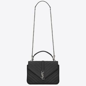 Saint Laurent Medium College Bag In Black Goatskin Leather