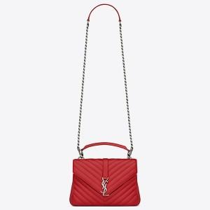 Saint Laurent Medium College Bag In Red Goatskin Leather