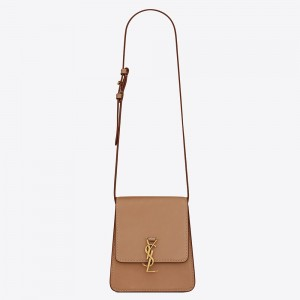Saint Laurent Kaia North South Bag In Brown Leather