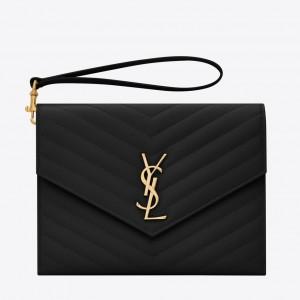 Saint Laurent Monogram Clutch In Black Grained Leather