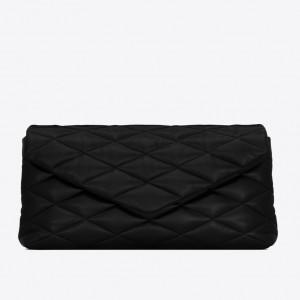 Saint Laurent Sade Puffer Envelope Clutch In Black Lambskin