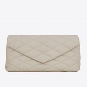 Saint Laurent Sade Puffer Envelope Clutch In White Lambskin