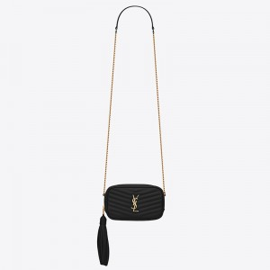 Saint Laurent Lou Mini Bag In Black Grained Leather