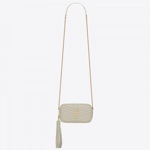 Saint Laurent Lou Mini Bag In White Grained Leather