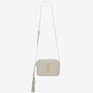 Saint Laurent Lou Camera Bag In White Leather