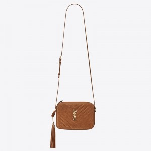 Saint Laurent Lou Camera Bag In Brown Quilted Suede