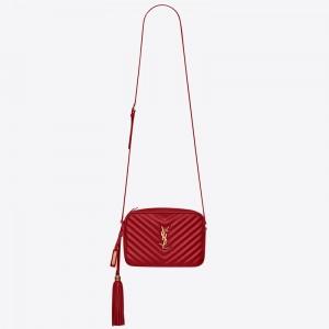 Saint Laurent Lou Camera Bag In Red Matelasse Leather