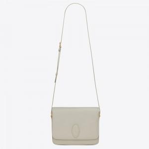 Saint Laurent LE 61 Medium Saddle Bag In White Leather