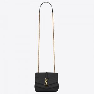 Saint Laurent Small Sulpice Bag In Black Matelasse Leather