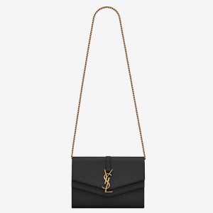 Saint Laurent Sulpice Chain Wallet In Black Smooth Leather