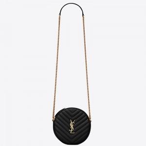 Saint Laurent Vinyle Round Camera Bag In Black Grained Leather