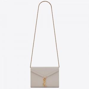 Saint Laurent WOC Cassandra Chain Wallet In White Leather