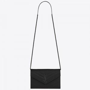 Saint Laurent WOC Envelope Chain Wallet All Black