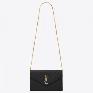 Saint Laurent WOC Monogram Chain Wallet In Black Leather