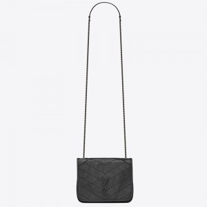 Saint Laurent WOC Niki Chain Wallet In Storm Crinkled Leather