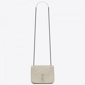 Saint Laurent WOC Niki Chain Wallet In White Crinkled Leather