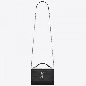 Saint Laurent WOC Sunset Chain Wallet In Black Croc-Embossed Leather