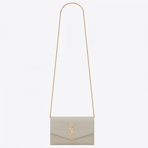 Saint Laurent WOC Uptown Chain Wallet In White Leather