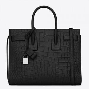 Saint Laurent Small Sac De Jour Bag In Black Crocodile Leather