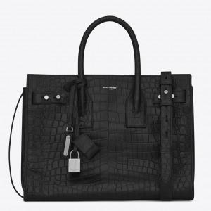 Saint Laurent Small Sac de Jour Souple Bag In Black Crocodile Leather