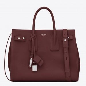 Saint Laurent Small Sac de Jour Souple Bag In Ruby Grained Leather