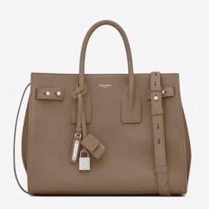 Saint Laurent Small Sac de Jour Souple Bag In Taupe Grained Leather