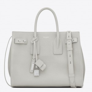 Saint Laurent Small Sac de Jour Souple Bag In White Grained Leather