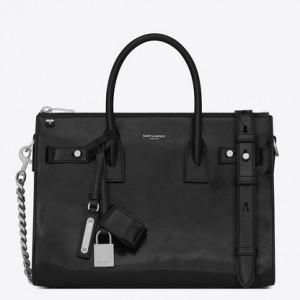 Saint Laurent Baby Sac De Jour Souple Duffle Bag In Black Moroder Leather
