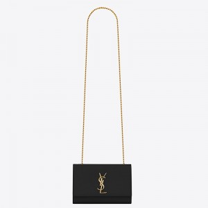 Saint Laurent Small Kate Bag In Black Grained Leather