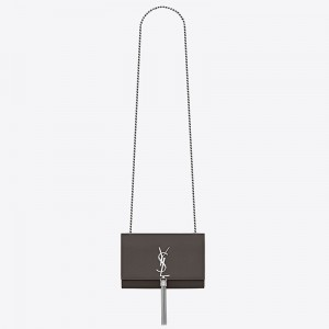 Saint Laurent Small Kate Tassel Bag In Grey Grained Leather