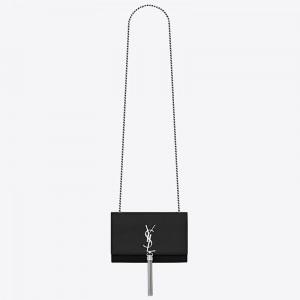 Saint Laurent Small Kate Tassel Bag In Black Grained Leather