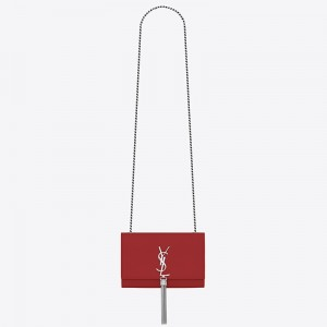 Saint Laurent Small Kate Tassel Bag In Red Grained Leather