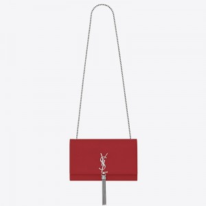 Saint Laurent Medium Kate Bag With Tassel In Red Grained Leather