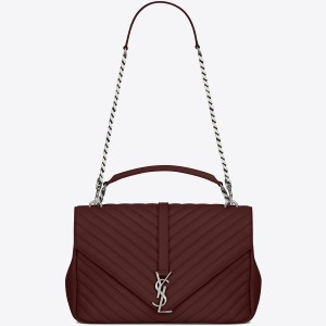 Saint Laurent Large Bordeaux College Shoulder Bag