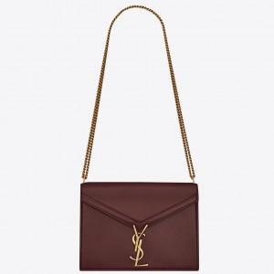 Saint Laurent Bordeaux Cassandra Monogram Clasp Bag