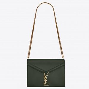 Saint Laurent Dark Green Cassandra Monogram Clasp Bag