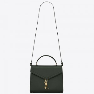 Saint Laurent Cassandra Medium Bag In Dark Green Grained Leather