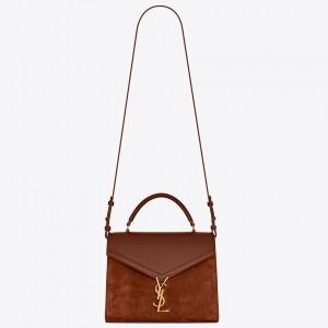 Saint Laurent Cassandra Medium Bag In Brown Suede