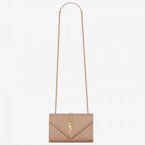 Saint Laurent Small Envelope Bag In Beige Grained Leather