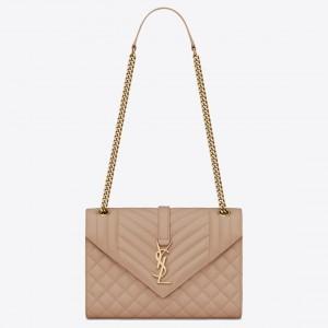 Saint Laurent Medium Envelope Bag In Beige Grained Leather
