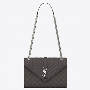 Saint Laurent Medium Envelope Bag In Grey Grained Leather